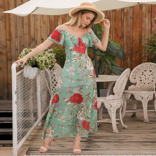 2018 New Vestido De Festa Fashion Women Summer Hot Sale V-neck Sleeveless Floral Print Long Loose Dress Three Styles Size S-xl