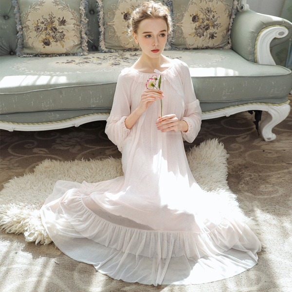 Modal Long Sleeved Sleeping Dress Women's Spring Long Nightgowns Lace Sweet Princess Loose Plus Size Home Clothes Night Dress