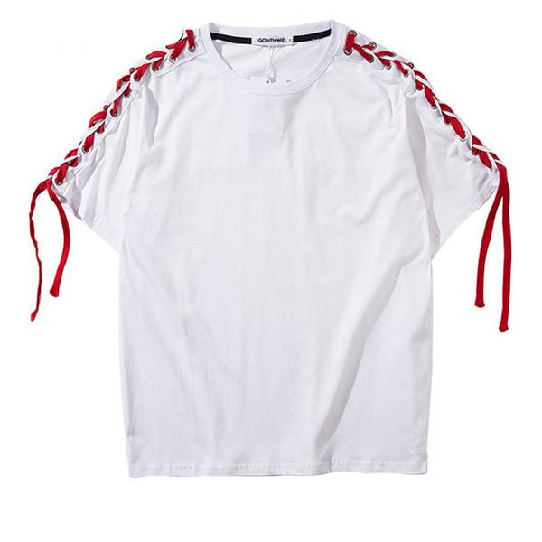 T-shirt dos homens Ombro Lace-Up Amarrado Patchwork T-Shirt de Manga Curta 2018 Hip Hop Streetwear Casual Algodão Tees Camisas Moda Camisetas