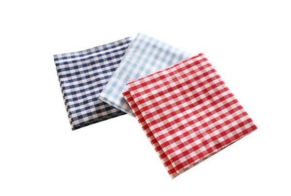 best selling 100pcs Cotton Cloth Napkins Plaid placemat Home Restaurant Cafe Table Napkin Wedding Table Kitchen Tea Towels