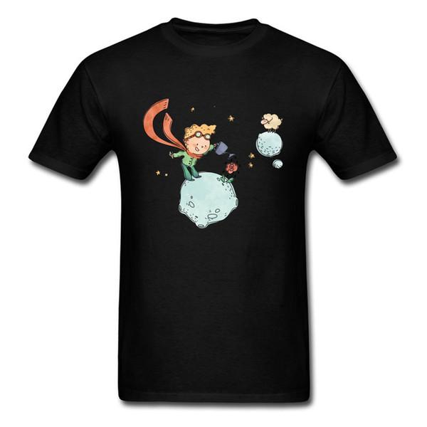 New Listing Little Prince Watering His Rose Cartoon Sheep Planet Print Men Black T Shirt Short Sleeve Tops & Tees