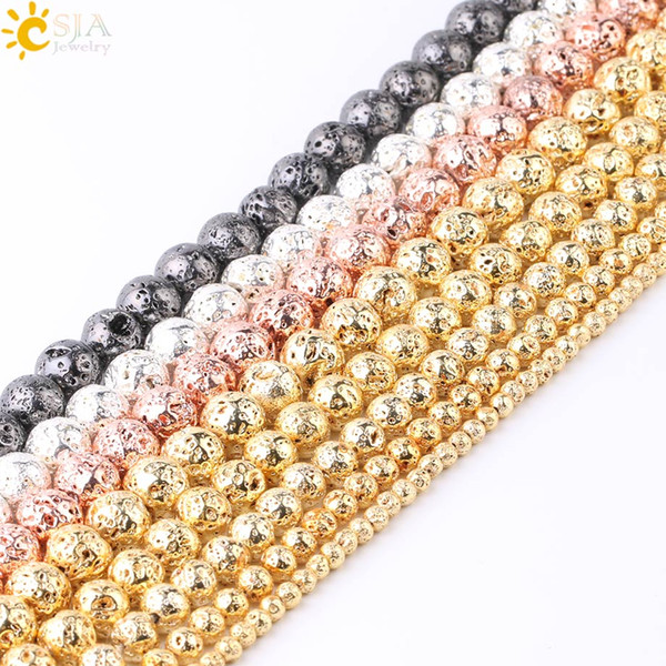 CSJA 46PCS Necklace Bracelet Making 8mm Mala Beads Metal Color Gold Silver Natural Lava Rock Stone Gems DIY Jewelry Loose Beads F731 C
