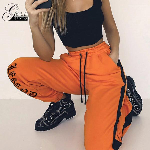Pantaloni sportivi allentati Pantaloni Harajuku Autunno Donna arancione Lettera stampata Pantaloni Pantaloni Hip Hop Pantaloni da ballo Plus Size