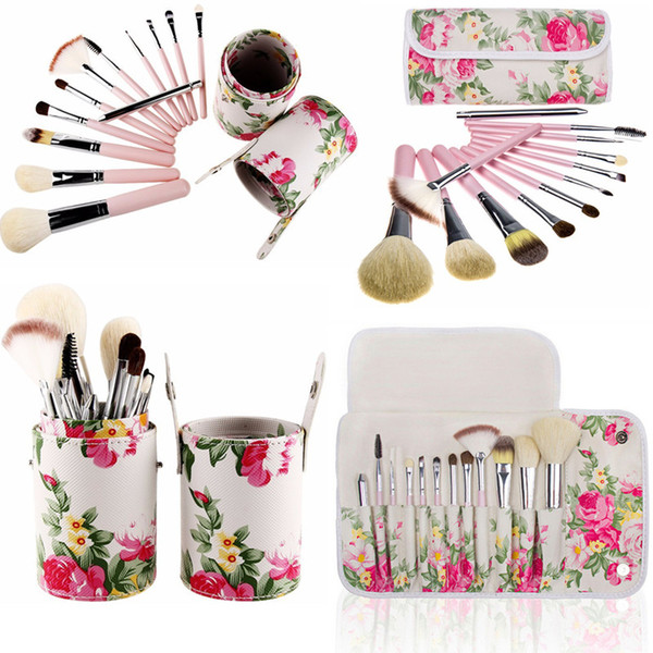White Rose Flower Makeup brushes 12 Pcs Sets Goat Hair Foundation Powder Contour Multipurpose Make up brushes with bag cases or cup holder
