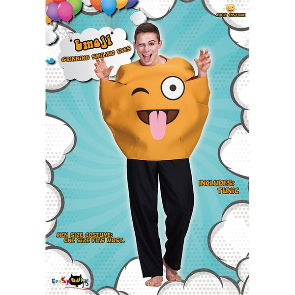 Cute Smiling Face Costumes For Adults Creative Design Yellow Emoji Clothing Halloween Party Perform Jumpsuit Hot Sale 50yd C