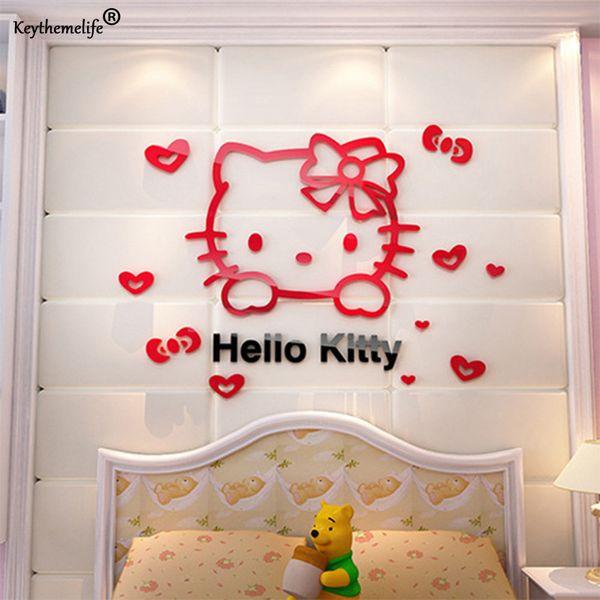 3D PVC Bonito Olá kitty Adesivo De Parede Para O Quarto Do Miúdo sala de estar Adesivo de Decoração Para Casa Nova Chegada Fridage adesivos Decoração 2D5