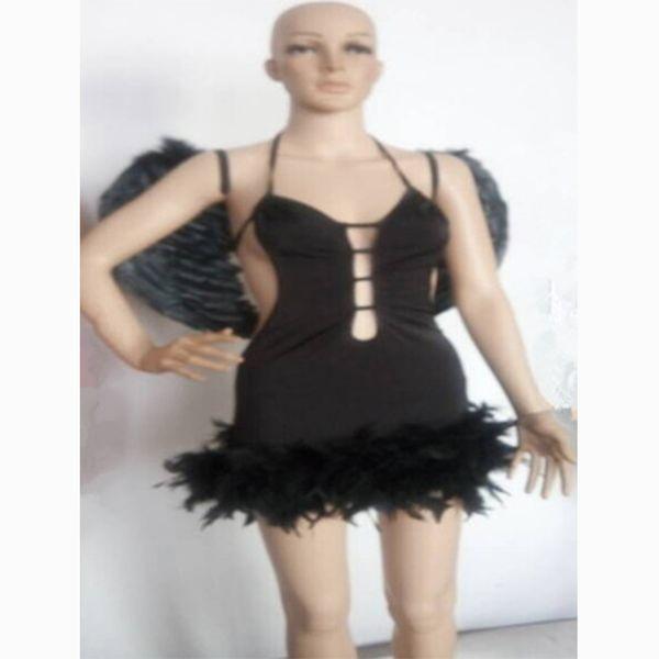 sexe chaud livraison gratuite Femme noir pleine longueur costume d'ange pour halloween une pièce robe costume d'halloween pour femme avec aile