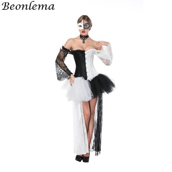 Beonlema Sexy Corset Dress Transparent Lace Long Sleeves Korse Waist Bustier Black White Adult Tutu Mesh Skirt Ball Dress