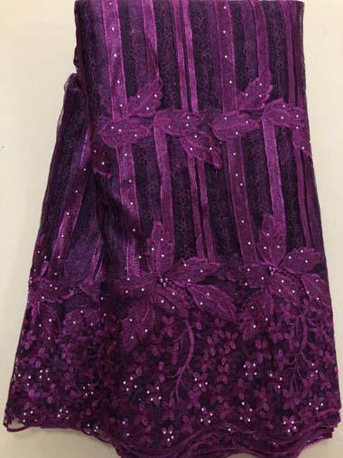 top popular 5Yards lot 2018 High Quality Nigerian French Lace African Lace Fabric For Women Dress magenta Africa Lace Fabric HLL3380 2019