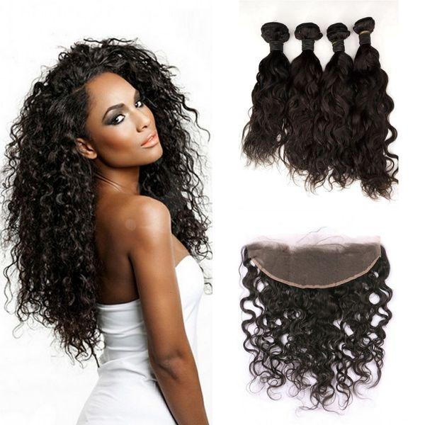 Brazilian Virgin Hair With Lace Frontal Closure 5pcs Lot Natural Black 4pcs Water Wave Human Hair Bundles With Frontal