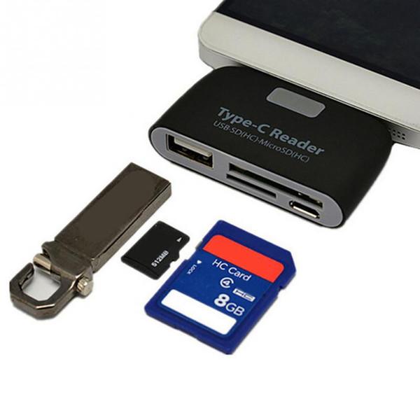 50 pcs USB 3.1 Type-c OTG Card Reader Type C USB-C Male To USB 3.0 OTG TF SD MS Female Adapter For OTG Phone Macbook