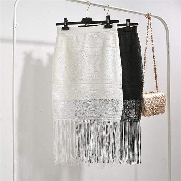 Al por mayor-Barato Short Lace Skirt Women Falda Lápiz Mujer Ropa faldas mujer Short Beach Faldas saia longa Blanco Y Negro