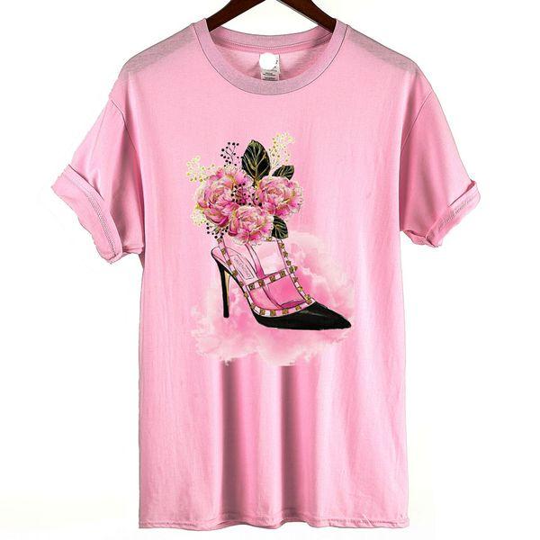 New Brand Women Tshirt 2018 Fashion Floral Shoe Design T shirt Women Summer Casual Streetwear Funny Print Tops Tees camiseta