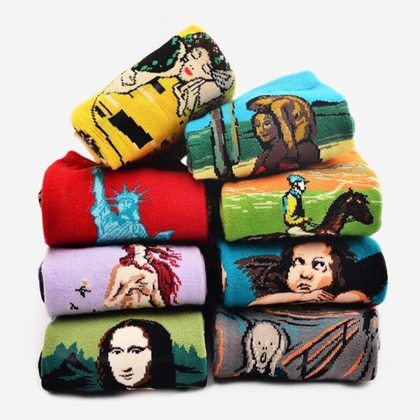 Autumn and winter men's socks new 23 different styles personality literary retro world famous painting series oil painting socks T6B007