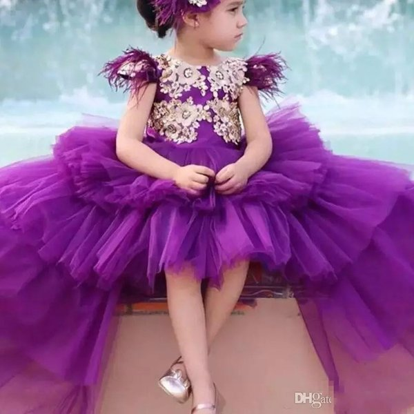 Cute High Low Purple Flower Girls Dresses Princess Wear Cap Sleeves Feather Crystal Appliques Girls Pageant Gowns For Birthday Dress