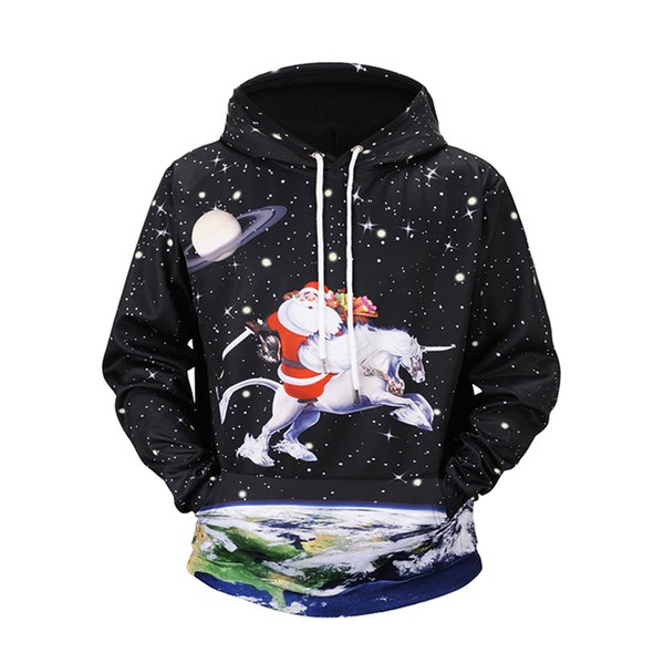 58a1c28f7c74 Christmas 3D Printed Santa Sky Horse Hoodies Sweater Large Size Loose Sweatshirts  men 2018 Autumn