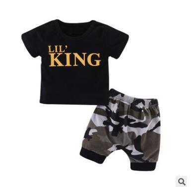 Baby Jungen Kleidung Set 2018 Sommer Kurzarm Neugeborenen Cohes Sets König t-shirt Tops Camouflage Shorts Hosenanzug Kleidung Neugeborenen Sport Anzug