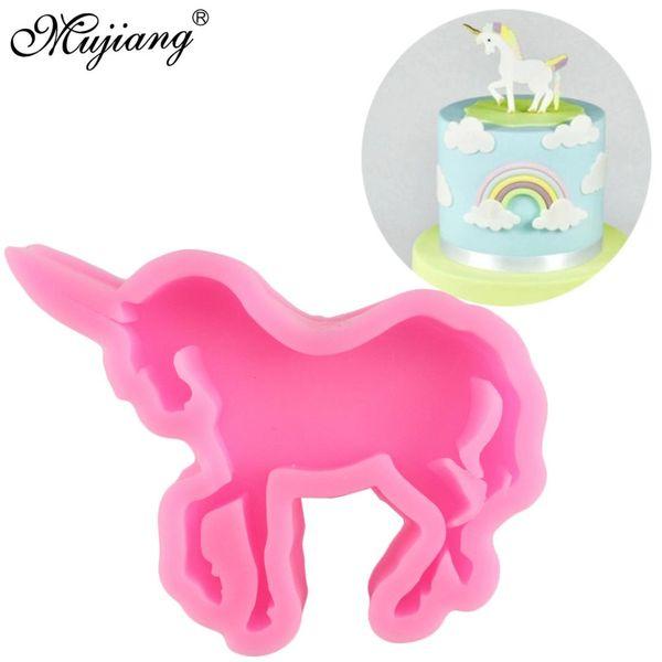Mujiang Unicórnio 3D Molde De Silicone Ferramentas de Decoração Do Bolo de Aniversário Do Bebê Unicornio Fondant Cookie Doces De Chocolate Gumpaste Moldes