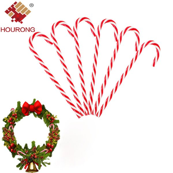 Hourong 6Pcs/lot Xmas Candy Cane Ornaments Christmas Tree Plastic Hanging Pendant Decoration For Festival Party Christmas Decor