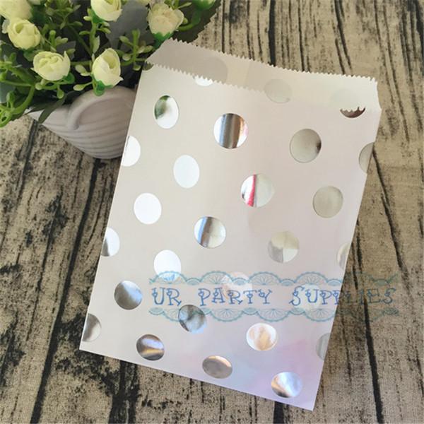 Spedizione gratuita 100pcs argento metallizzato Shimmer polka dot favore di carta borse 5