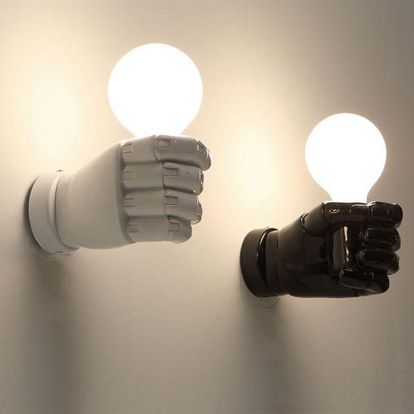 Acheter Résine Moderne Poing Applique Murale Simple Applique Murale Chambre  Lampe De Chevet Bar Escalier Éclairage À La Maison Blanc Noir E27 Bras De  ...