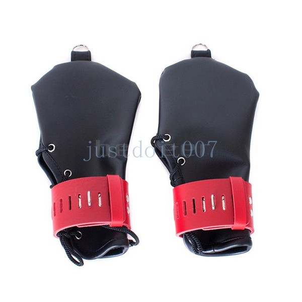 NEW Mitts Lockable Hand / Wrist Restraint PU Leather Restriction Gloves Costume #R45