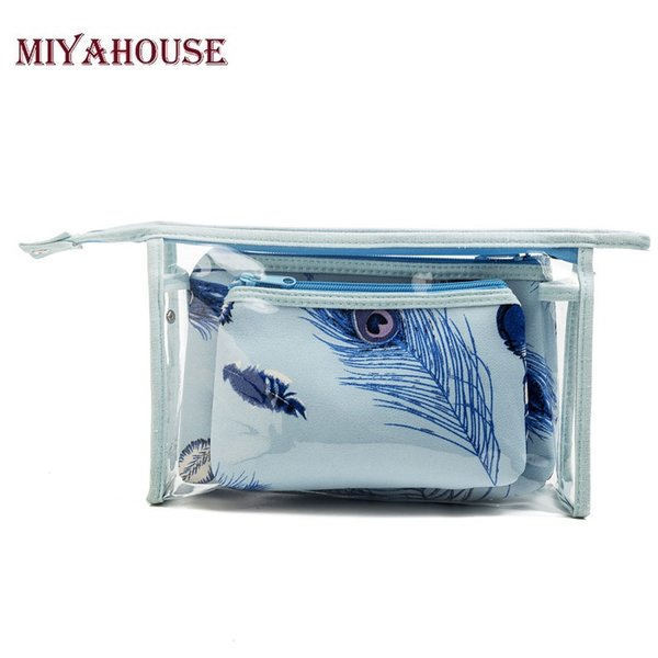 Miyahouse Feather Printed 3pcs/set Cosmetic Bags Women Make Up Bag Neceser Travel Toiletry Bag Portable Transparent Beauty Case