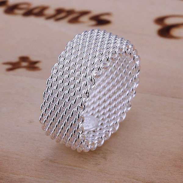 Free Shipping wholesale fashion jewelry Silver Ring Fine Fashion Net Ring Women&Men Gift Finger Rings