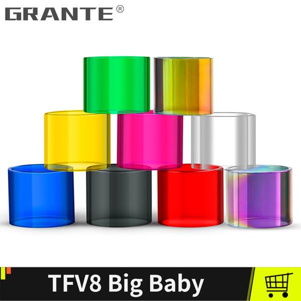 Grante Yedek Pyrex Cam Tüp için 24mm TFV8 Büyük Bebek beast 22mm Vape kalem 22 Atomizer Vape tankı ile tek kutuları