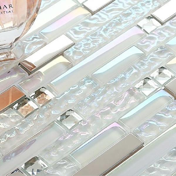 White Fantasy Colored Long Strip Glass mix Metal Mosaic 13 Facets Diamond Mosaic Wall Tile for Waistline Kitchen Backsplash Bath