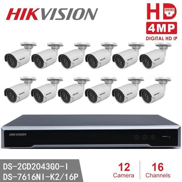 Hikvision DS-7616NI-K2 / 16P 16CH 16POE Conector incorporado Juego 4K NVR + Hikvision El más nuevo sistema de cámara IP H.265 4MP DS-2CD2043GO-I Modelo