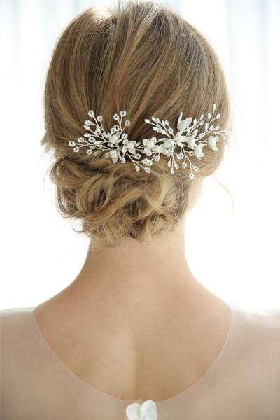 Sweet Silver Wholesale Wedding Bridal U Pins Lot Headpiece Pearl Hair Accessories Clip Crystal Rhinestone Pieces Princess Queen Crown Tiara