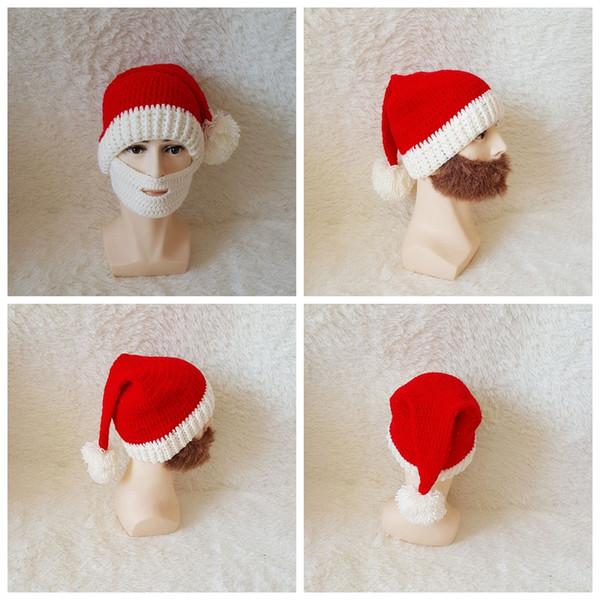 Christmas Beard Hats Knitted Beard Mask Cap Winter Santa Clause Cosplay Hat Warm Ear protective Skiing Headgear kids caps GGA1045