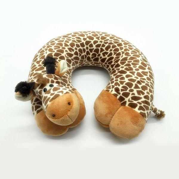 1* Hot Comfortable U Shape Cartoon Animal Pillows 100% Cotton Travel Neck Pillow for Car Flight Healthcare Headrest Soft Pillows