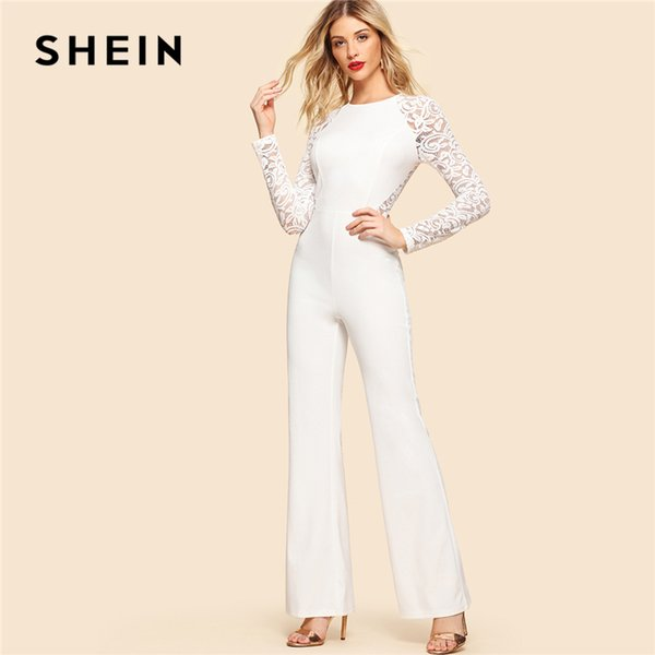 SHEIN White Elegant Contrast Lace Insert Long Raglan Sleeve Round Neck High Waist Skinny Jumpsuit Summer Women Party JumpsuitX82301