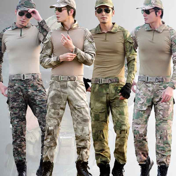 Novel Design Tactical Frog Suits Uniform Army Combat Camouflage Set Shirts & Pants With 4 Piece Elbow Knee Pads