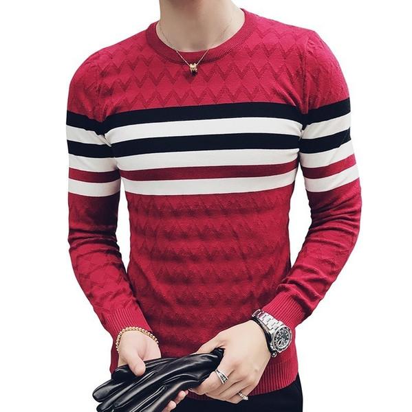 Fancy Stripe Knit Sweater Jacuqard Male Sweater Men Slim Fit Pullvoer Men Pull Over Erkek Kazak Korean Fashion Clothing