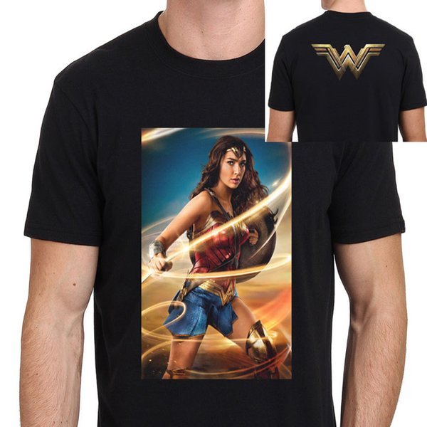 Crear camiseta O-cuello de manga corta Broadcloth Mens Wonder Woman Gal Gadot New Movie Poster camiseta