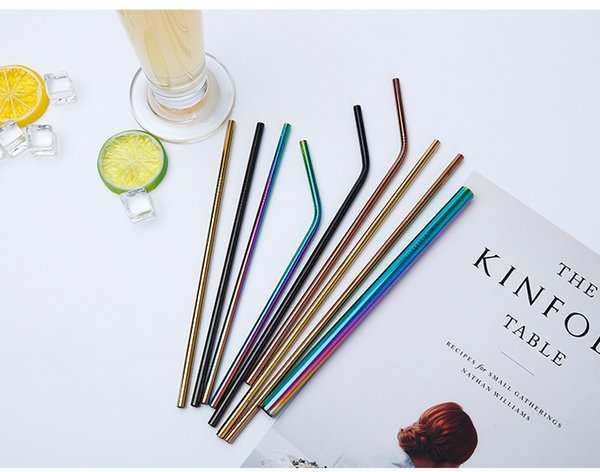 304 Colored Stainless Steel Straws 215cm*6mm Reusable Mental Milk Tea Juice Straws Bend And Straight Driking Straws Bar Tools CMP01-04