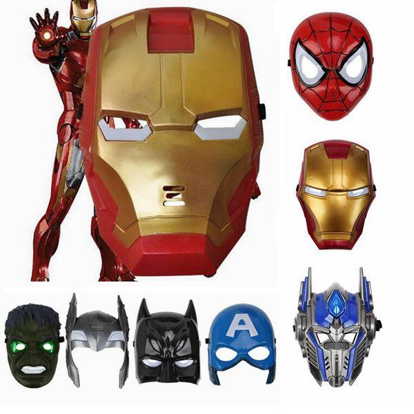 Máscara LED de superhéroes brillantes para niños Avengers Marvel Spiderman Ironman Capitán América Hulk Batman Máscara de fiesta