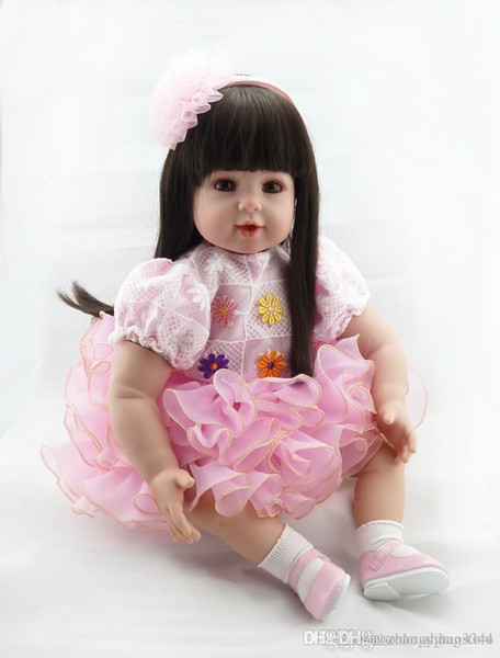 Wholesale- New bebe girl reborn menina de silicone menina 50 cm doll Straight hair princess babies for girls Toys gift baby born Dolls