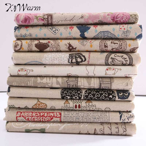 KiWarm Funny Patterns Cotton Linen Fabric Quilting Patchwork For Sewing Dolls Pillow Case Crafts Accessory 78x50cm
