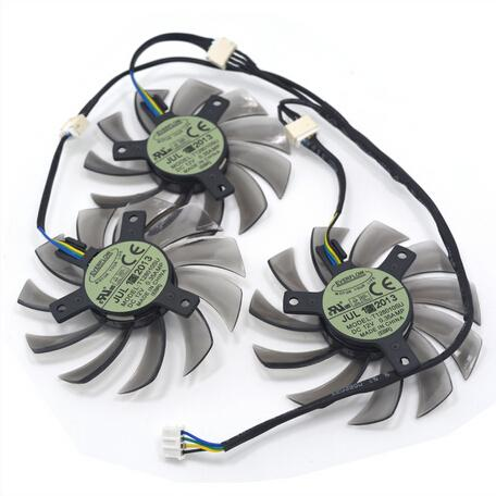 3Pcs/lot Everflow T128010SU 4Pin 0.35A Graphics Card Fan Cooler for Gigabte GeForce GTX770 760 680 as Replacement