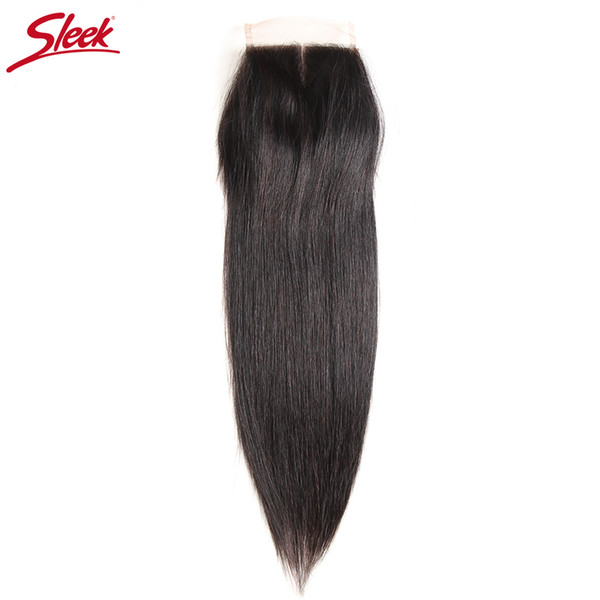 Sleek Brazilian Straight Hair 4x4 Lace Closure 100% Remy Human Hair Natural Color Middle Part Top Closures 8-18 Inch