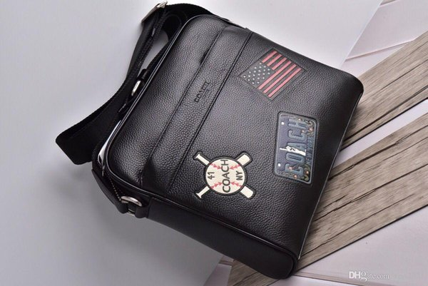 Full genuine leather Mens Cross body bags Top quality 29x25x7cm small square Messenger bag Litchi baseball pattern man shoulder bags #n142