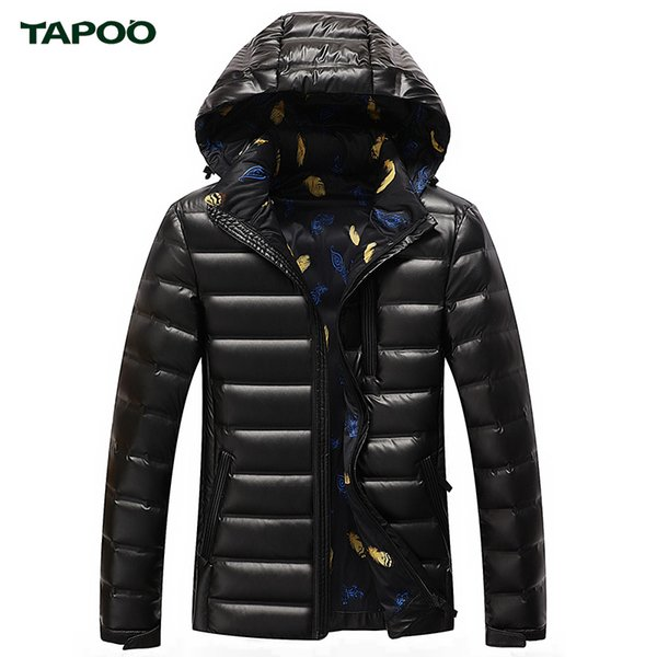 TAPOO Winter Jacket Men Down Jacket 90% White Duck Down Thick Coat Hood Winter Warm Jackets And Coats For Men Parka