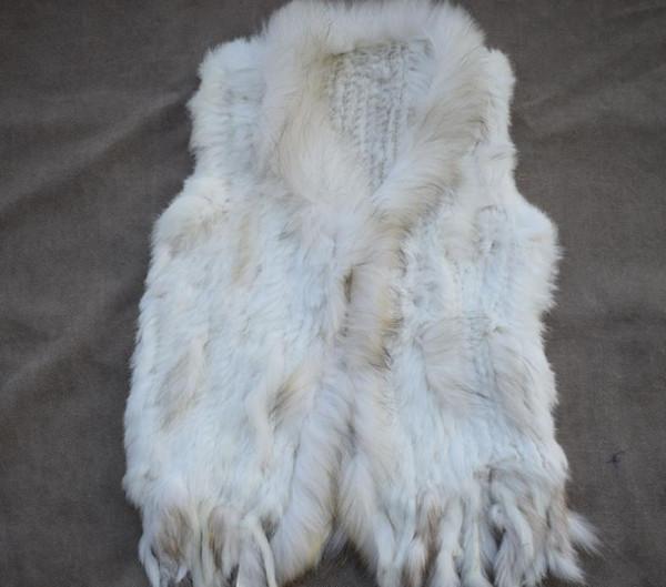 Gilet di pelliccia Pelliccia di coniglio di alta qualità tessitura breve cappotto collo di pelliccia collo di pelliccia di procione Le donne europee e americane della moda