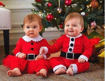 Christmas Newborn Baby Boys Girls Santa Claus Rompers Hat 2Pcs Outfits Set 0-24M Xmas baby rompers jumpsuits 2017 Latest Fashion Y18102907