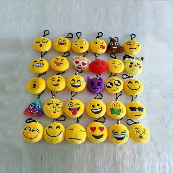 New Keychains 6cm Emoji Smiley Small pendant Emotion Yellow QQ Expression Stuffed Plush doll toy bag pendant for 2018 Christmas gift