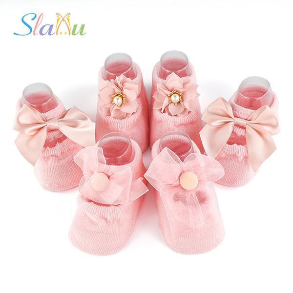 2d535aaa4 Pack de 3 calcetines de bebé de algodón con encaje para bebés recién  nacidos Calcetines de